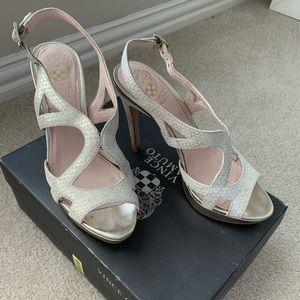 """""""Metal Dust Dipped Metallic"""" heels"""